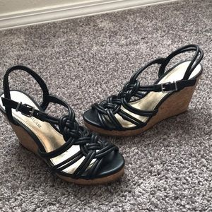 Antonio Melani black wedge sandals. Size 7